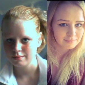 Links: Bijna 14 jaar. Rechts 22 jaar.